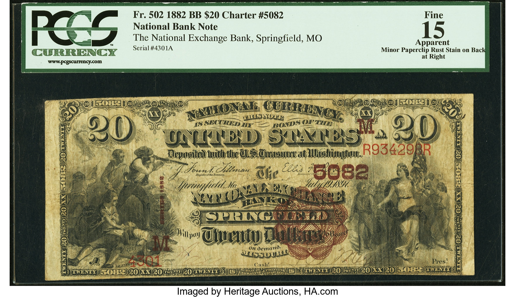 sample image for 1882 2nd Charter Period $20  Brown Back 1st Issue (Fr.# 502)