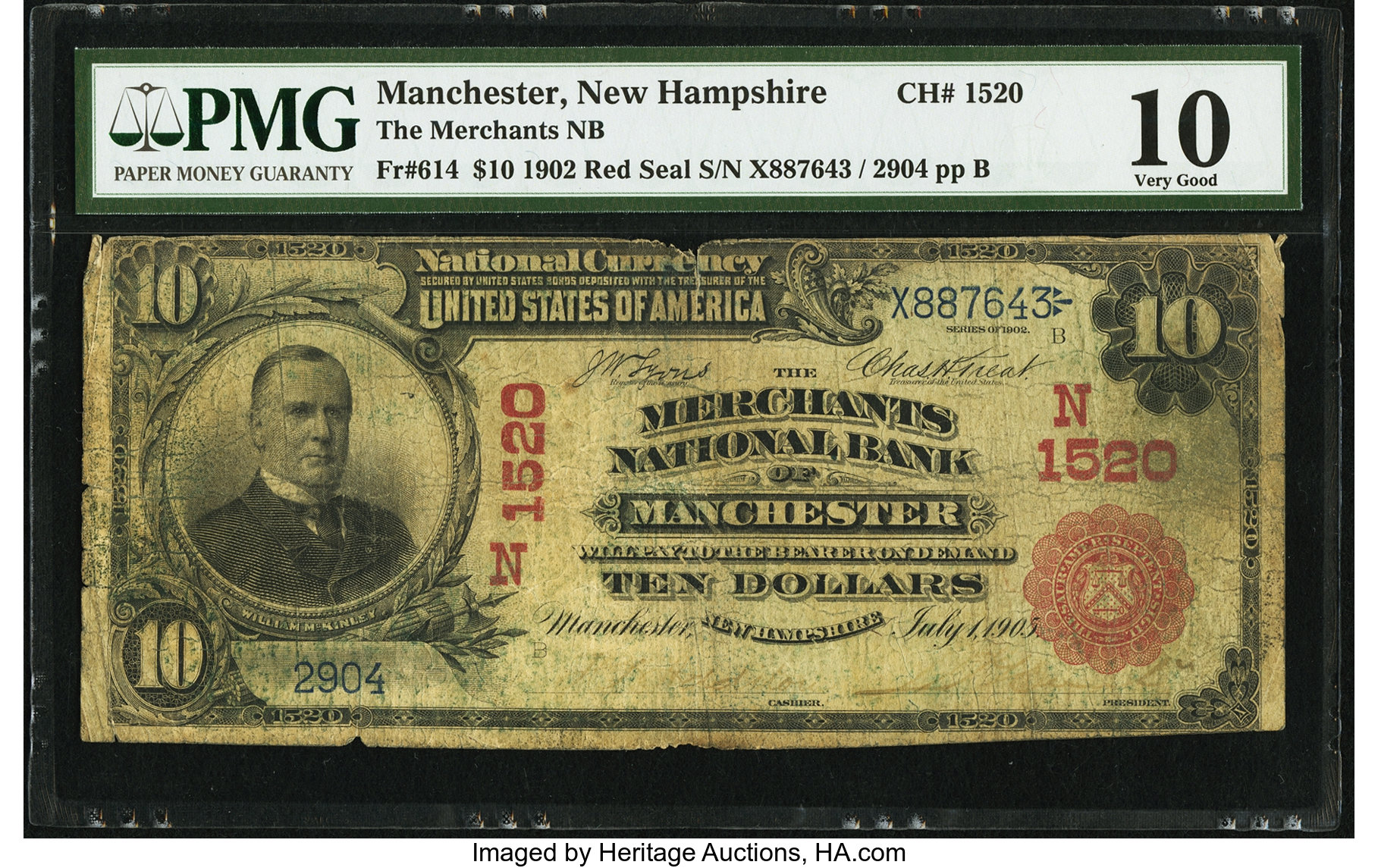 sample image for 1902 3rd Charter Period $10  Red Seal 1st Issue (Fr.# 614)