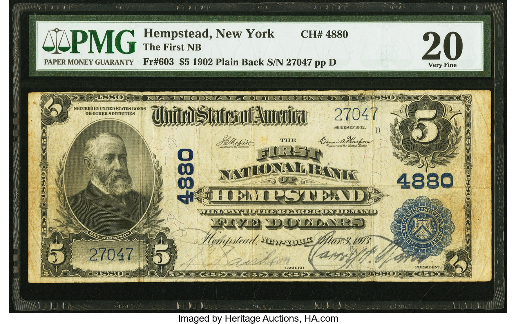 sample image for 1902 3rd Charter Period $5  Plain Back 3rd Issue (Fr.# 603)