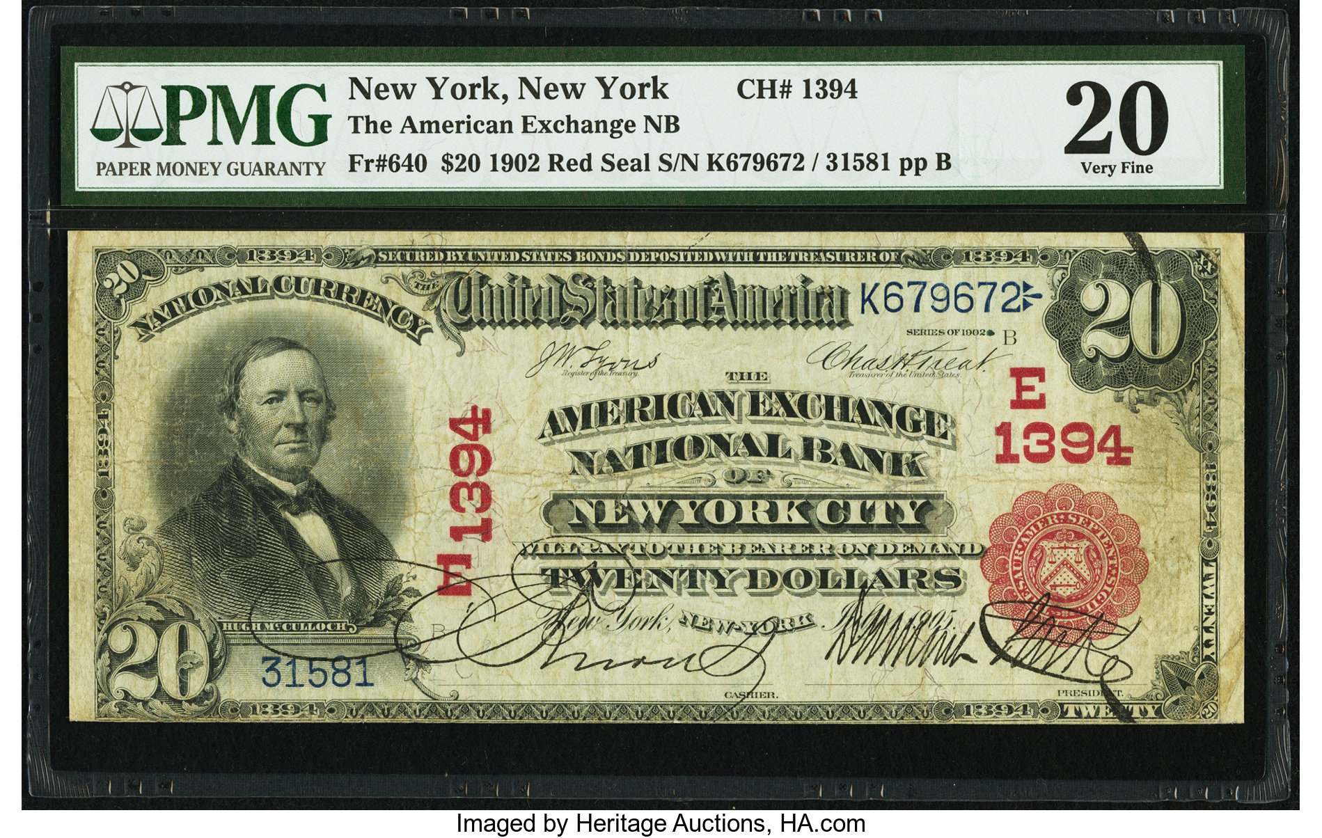 sample image for 1902 3rd Charter Period $20  Red Seal 1st Issue (Fr.# 640)