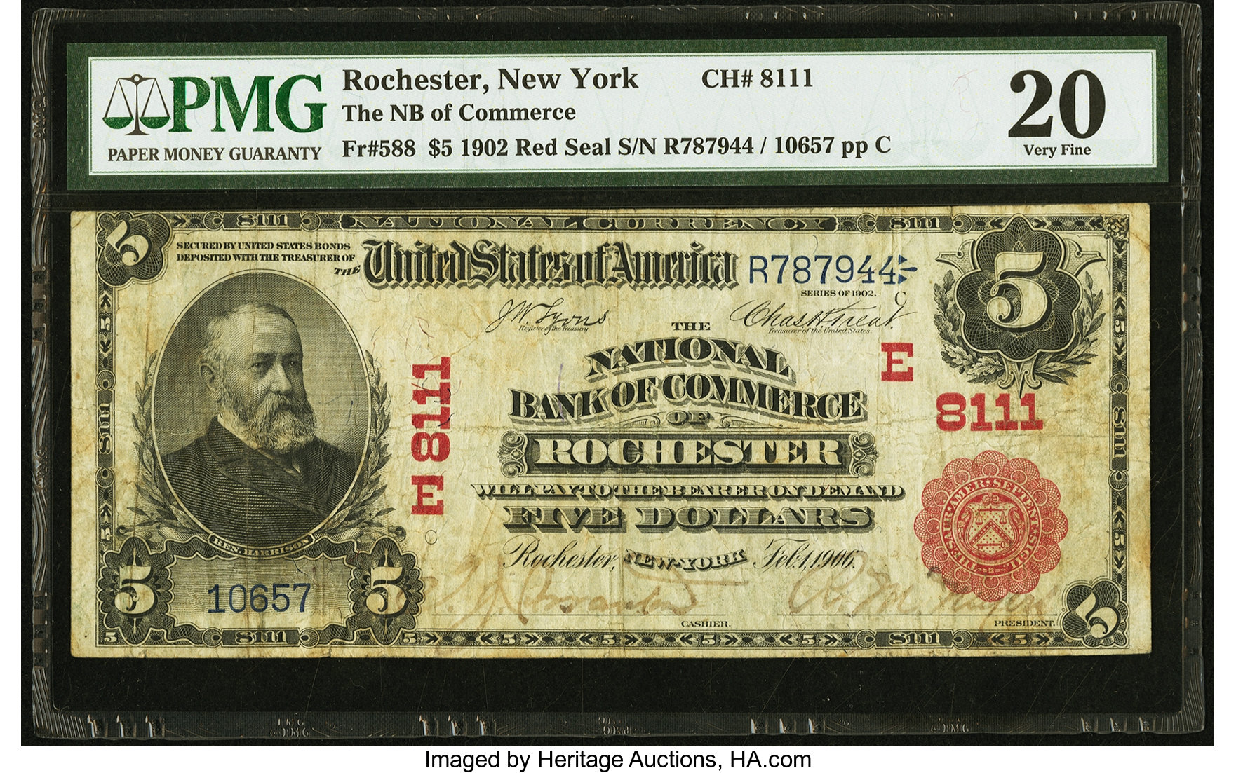 sample image for 1902 3rd Charter Period $5  Red Seal 1st Issue (Fr.# 588)