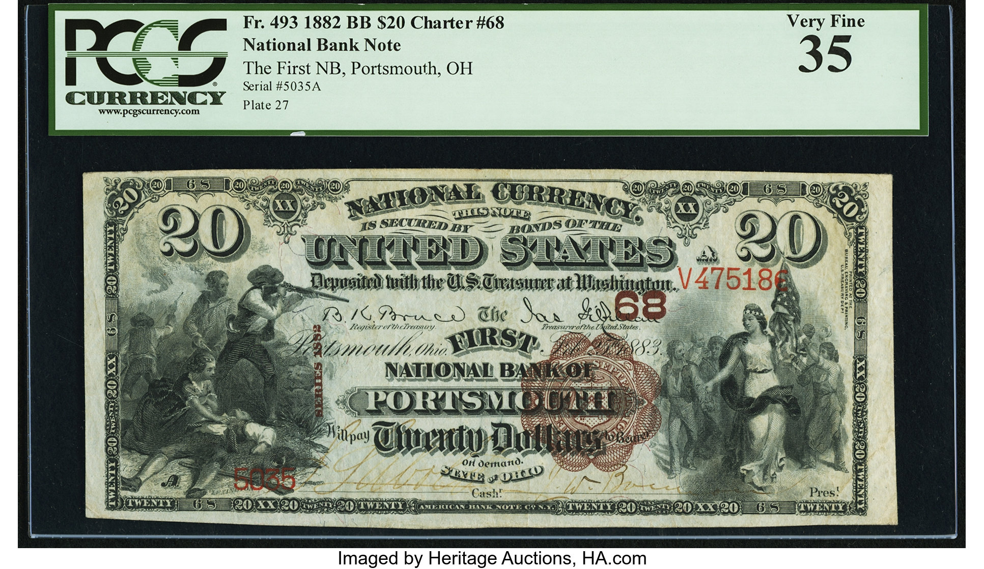 sample image for 1882 2nd Charter Period $20  Brown Back 1st Issue (Fr.# 493)
