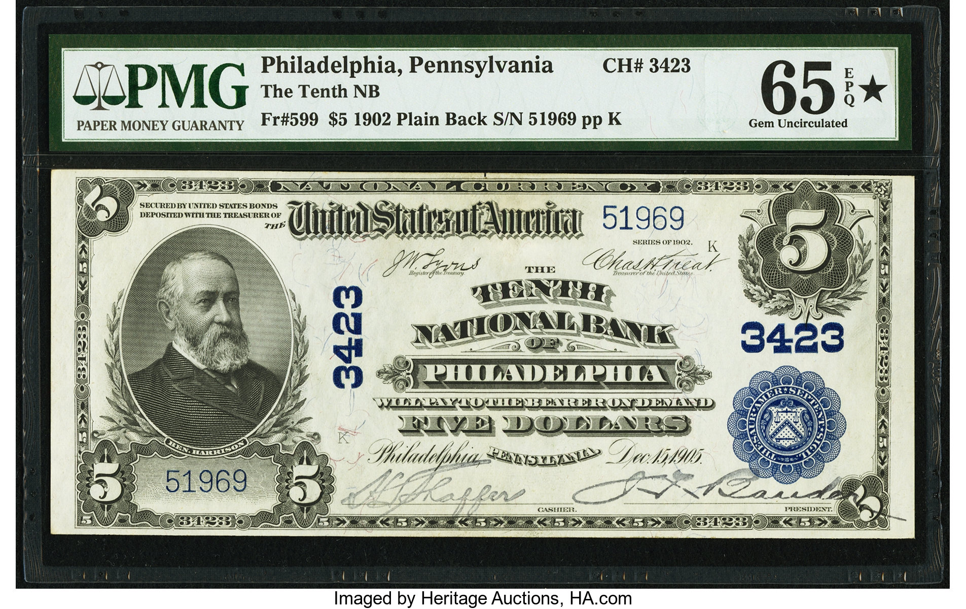 sample image for 1902 3rd Charter Period $5  Plain Back 3rd Issue (Fr.# 599)