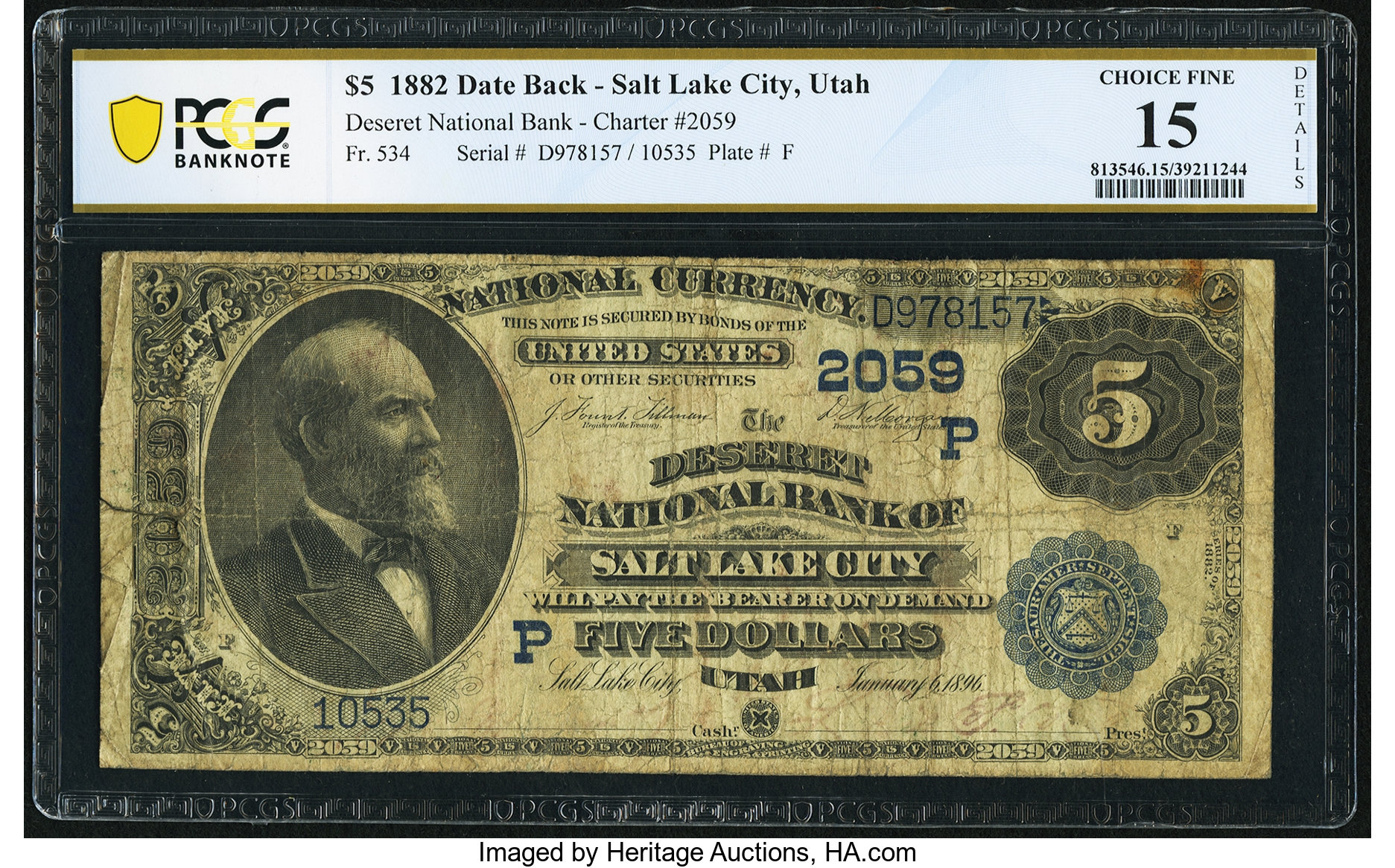sample image for 1882 2nd Charter Period $5  Date Back 2nd Issue (Fr.# 534)