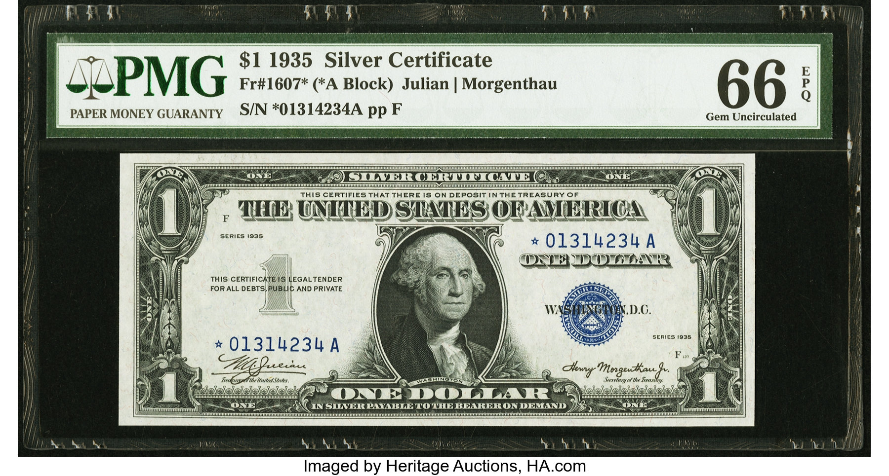 sample image for 1935 $1  Replacement (Fr.# 1607*)