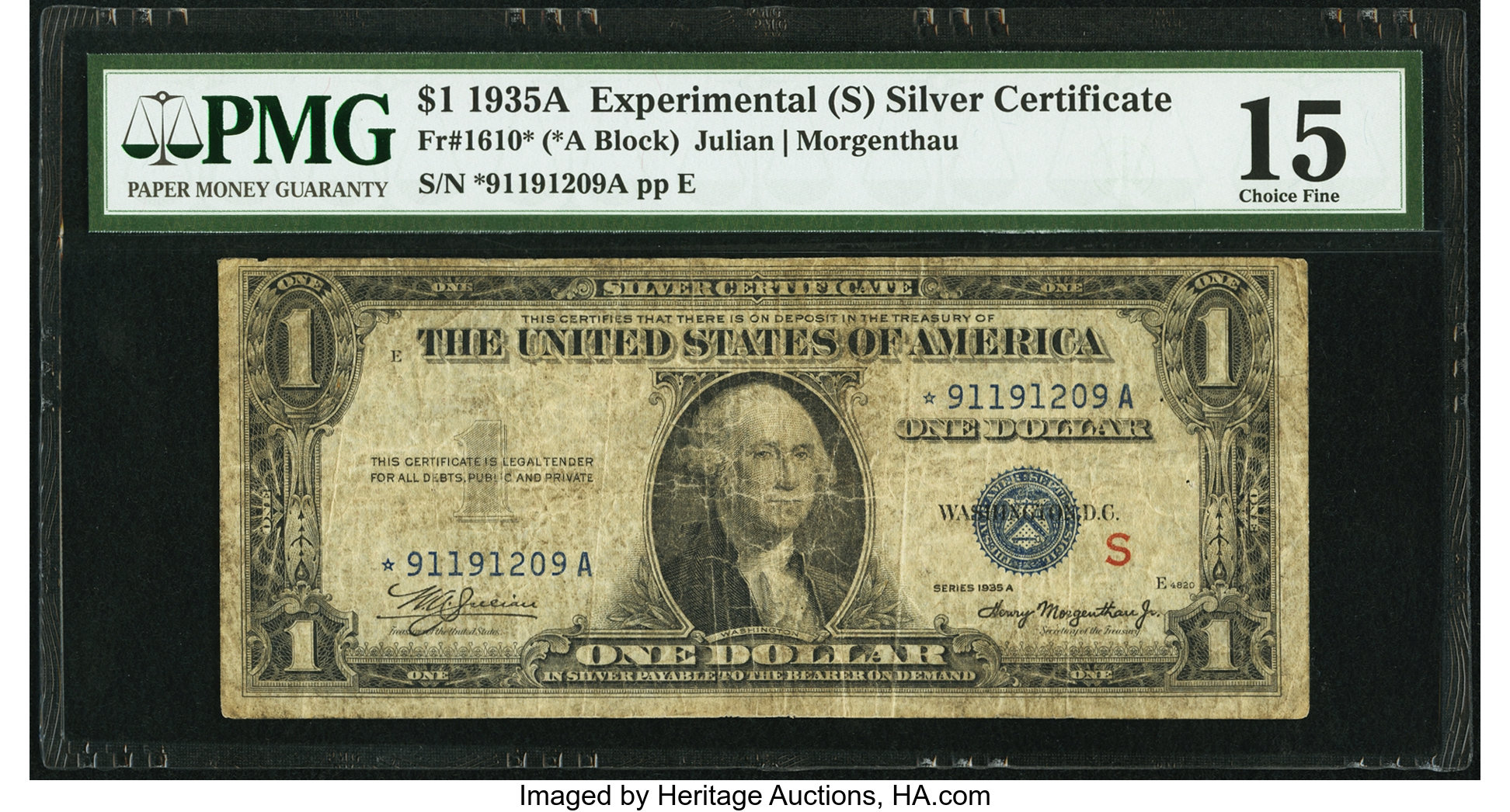 sample image for 1935AS $1  S Experimental Replacement (Fr.# 1610*)