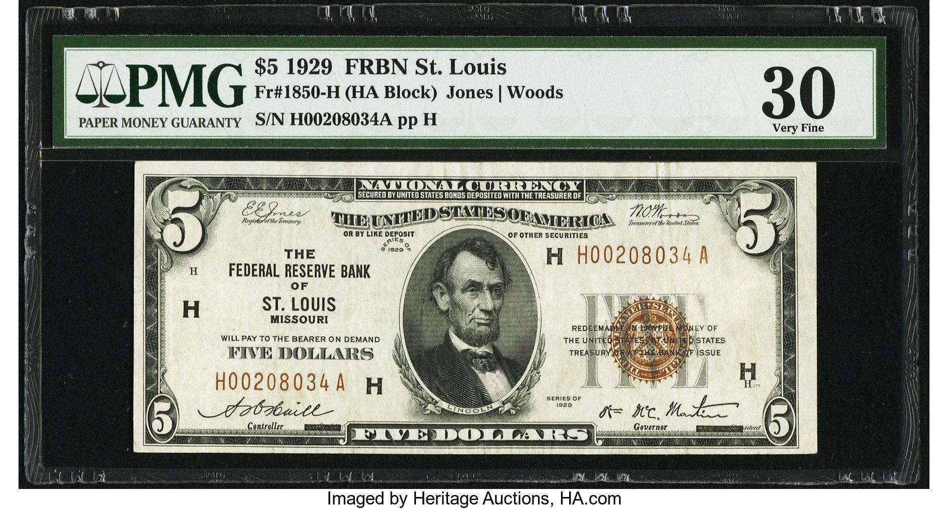 sample image for 1929 $5  St. Louis (Fr.# 1850H)