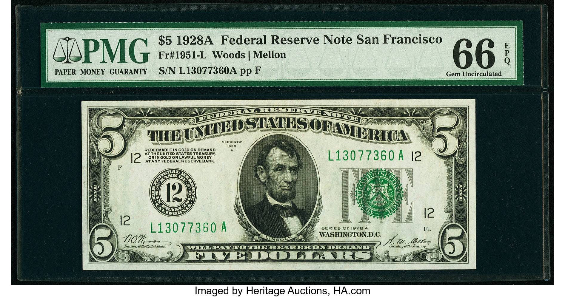 sample image for 1928A $5  San Francisco (Fr.# 1951L)