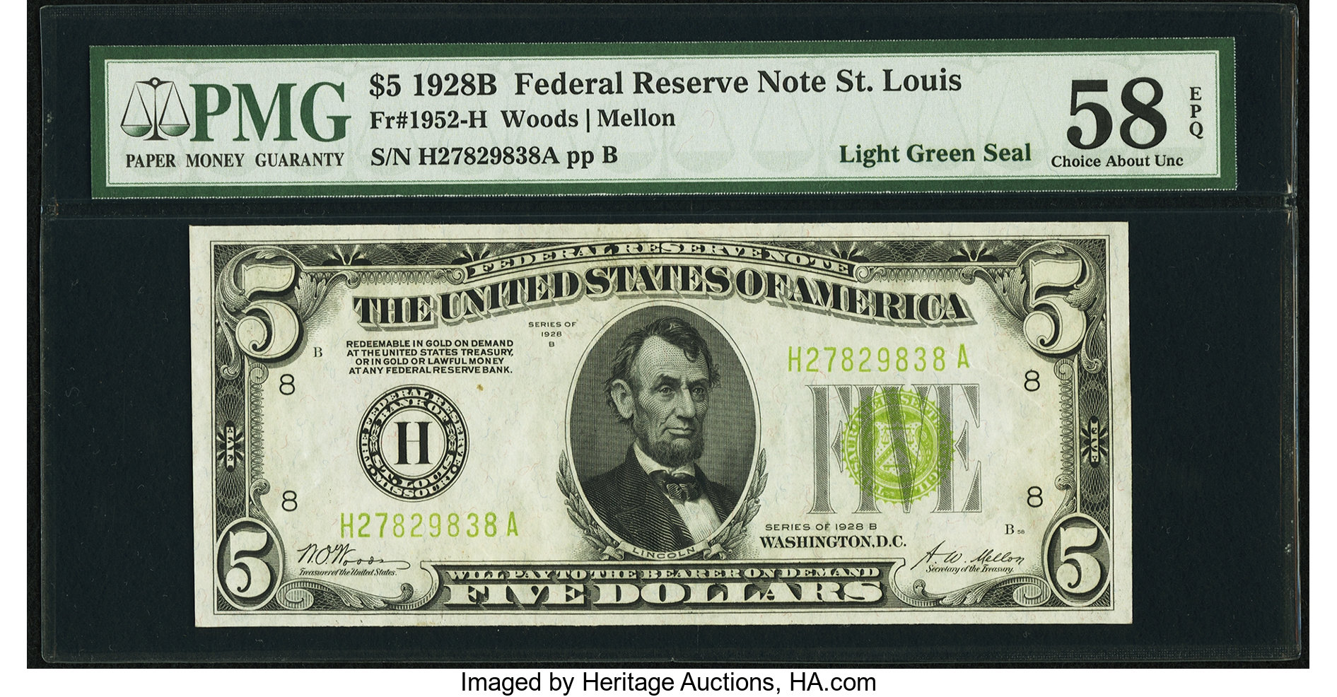 sample image for 1928B $5  St. Louis (Fr.# 1952H)