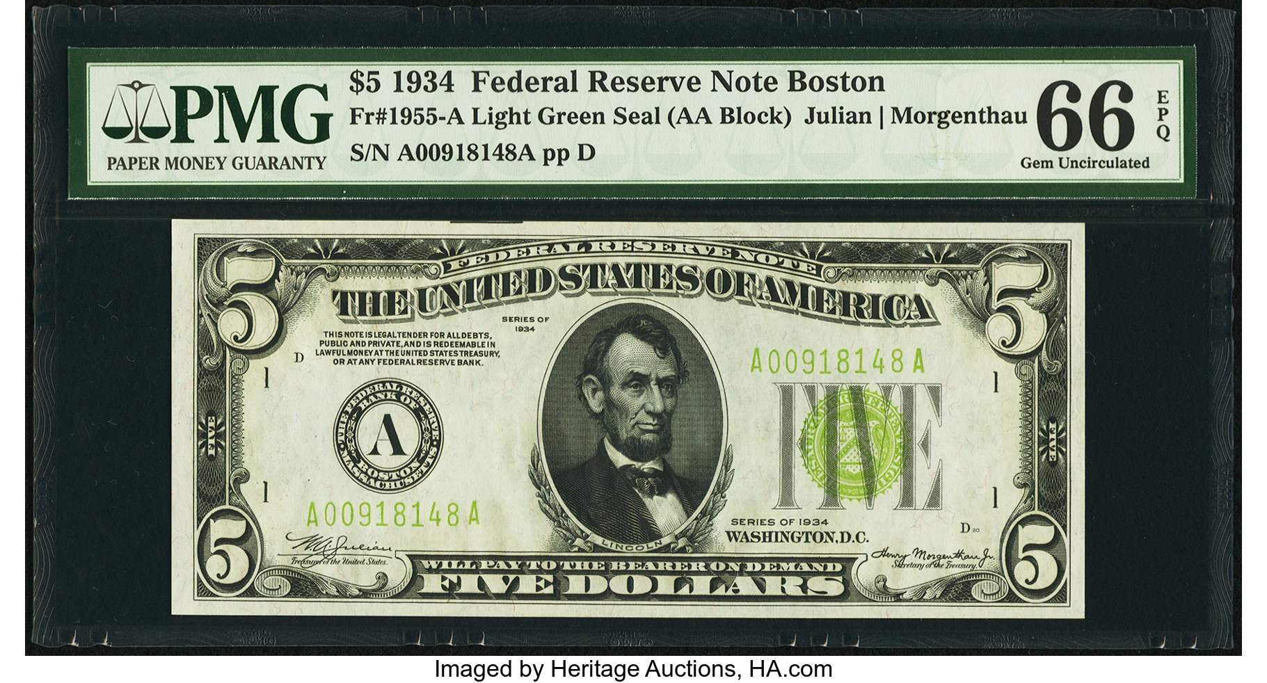 sample image for 1934 Light Green Seal $5  Boston (Fr.# 1955A)