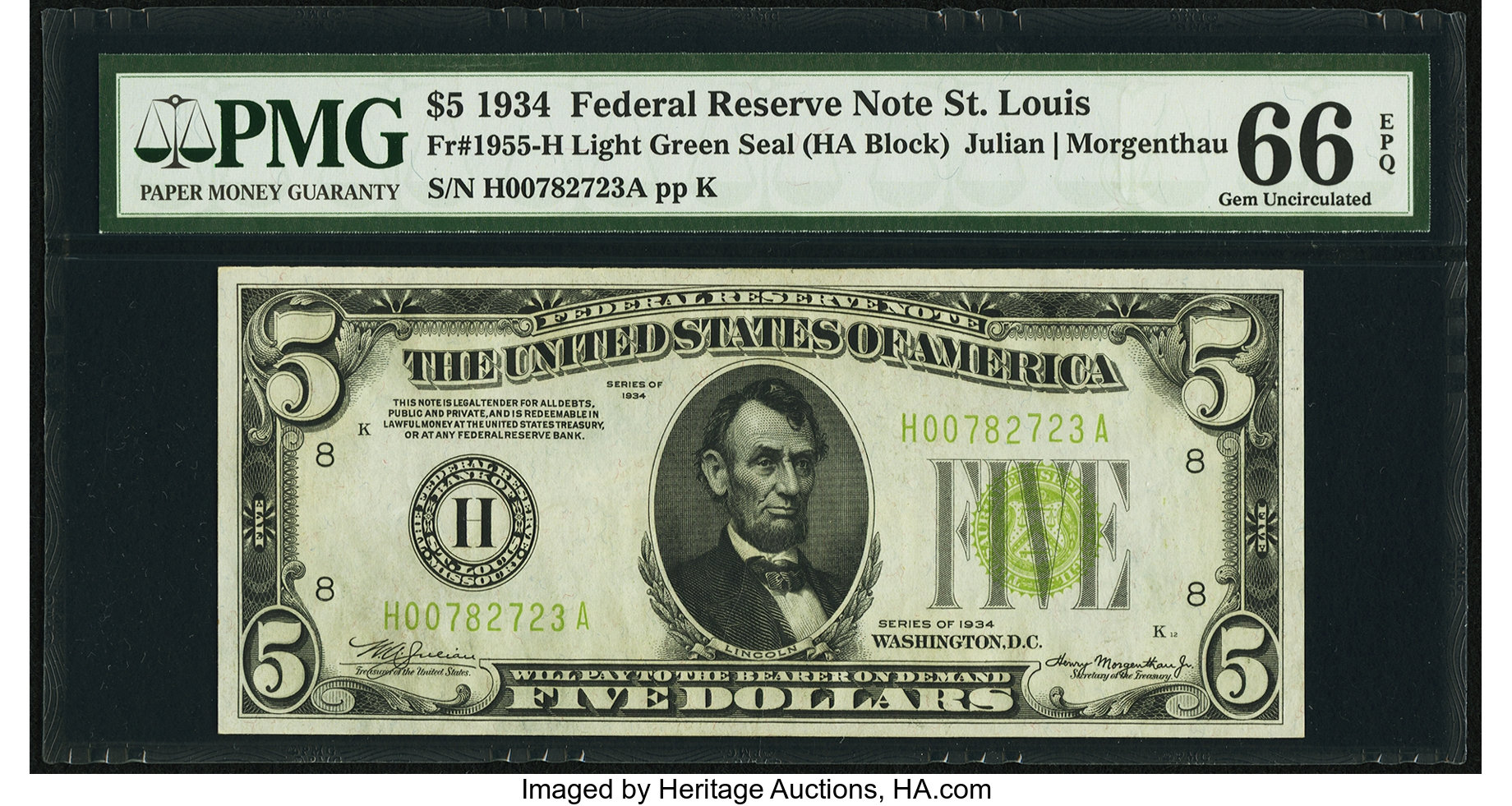 sample image for 1934 Light Green Seal $5  St. Louis (Fr.# 1955H)