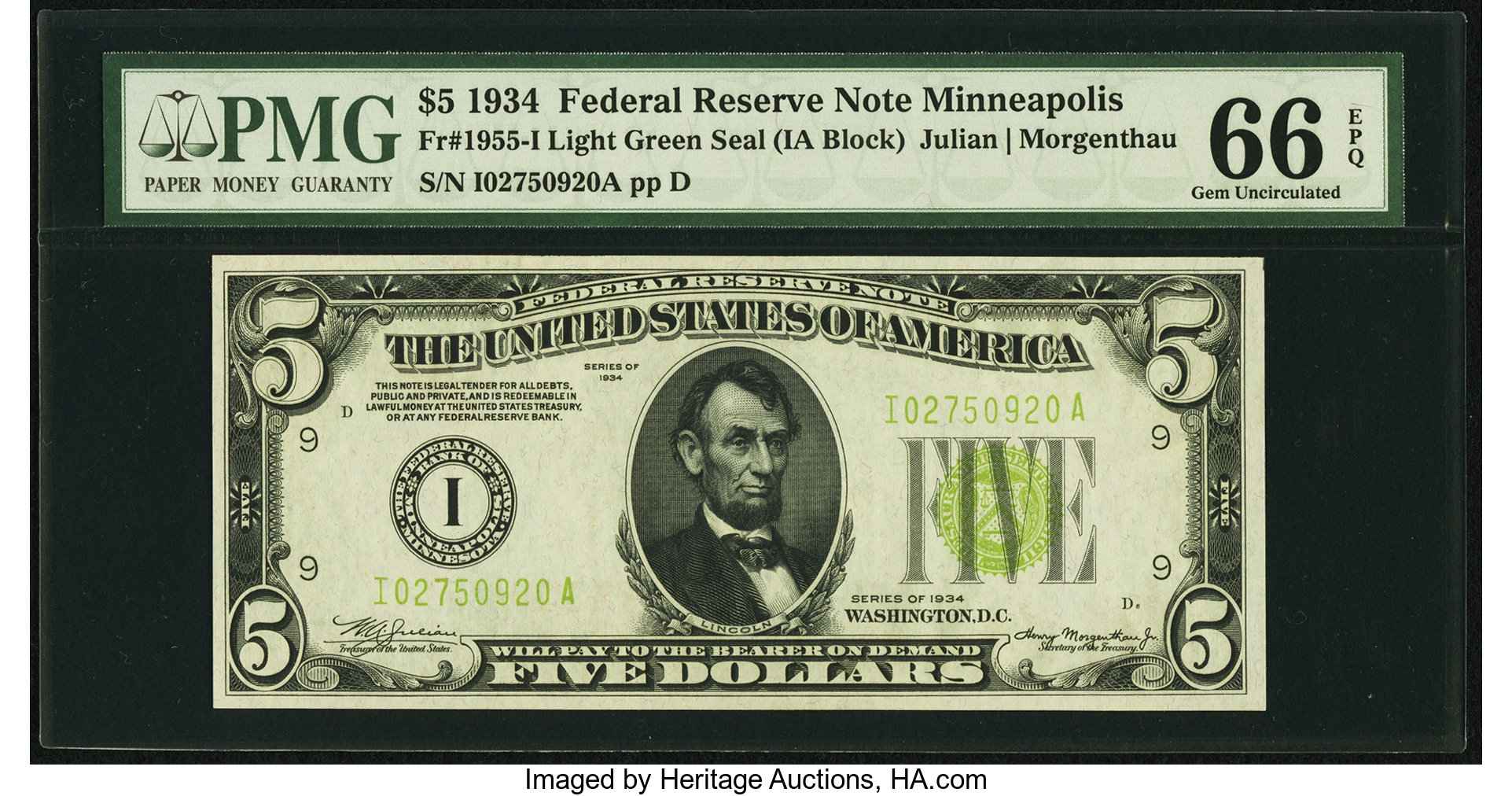 sample image for 1934 Light Green Seal $5  Minneapolis (Fr.# 1955I)