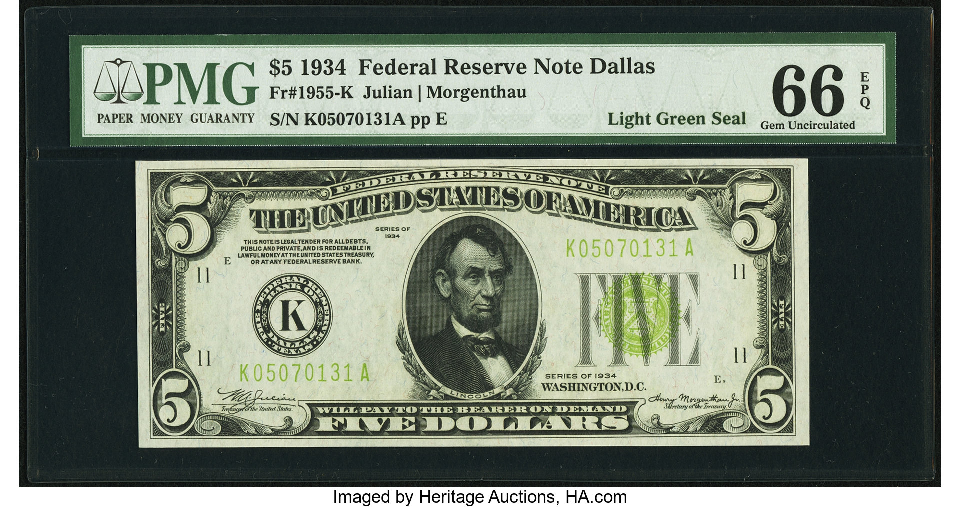 sample image for 1934 Light Green Seal $5  Dallas (Fr.# 1955K)