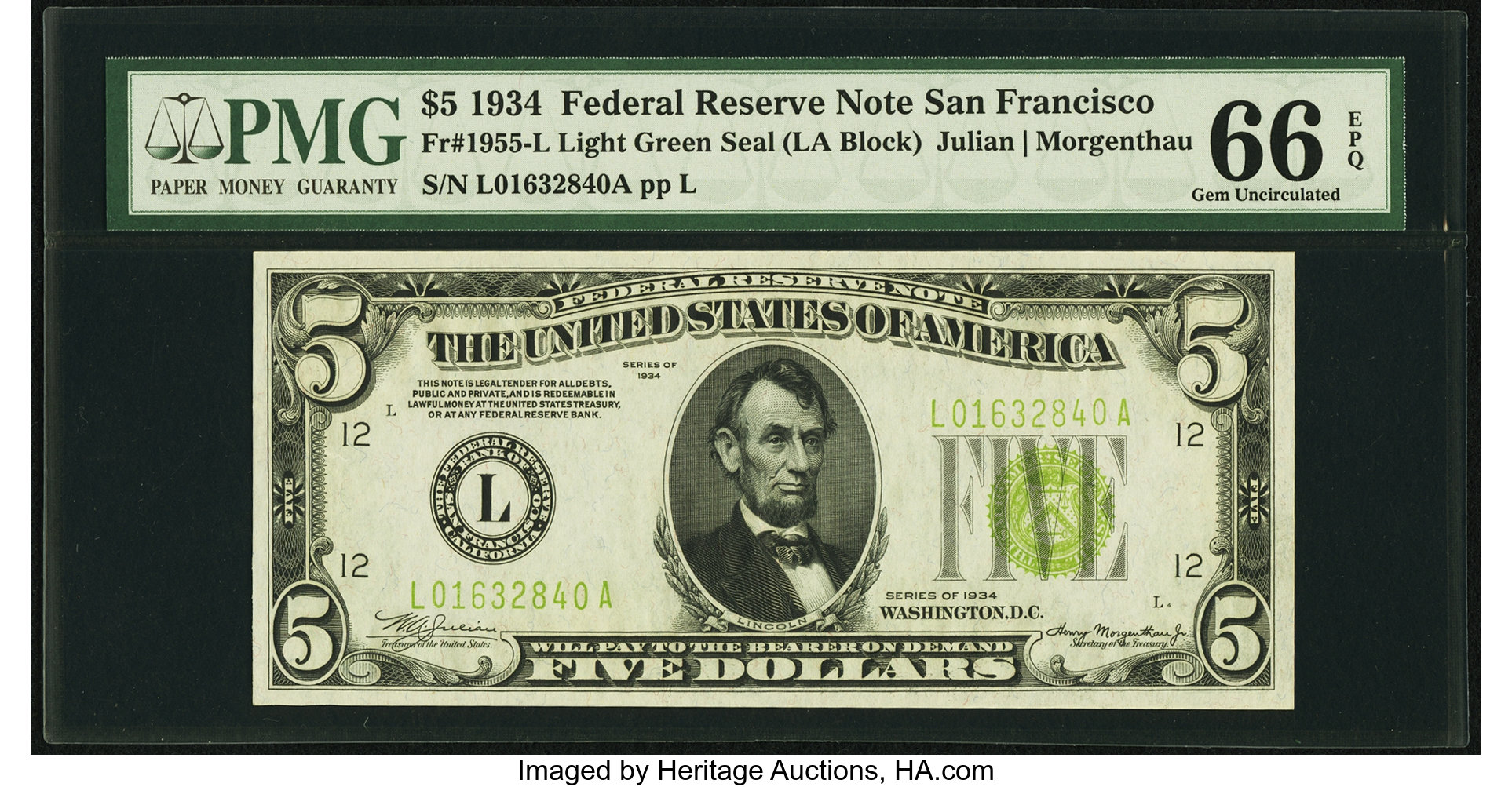 sample image for 1934 Light Green Seal $5  San Francisco (Fr.# 1955L)