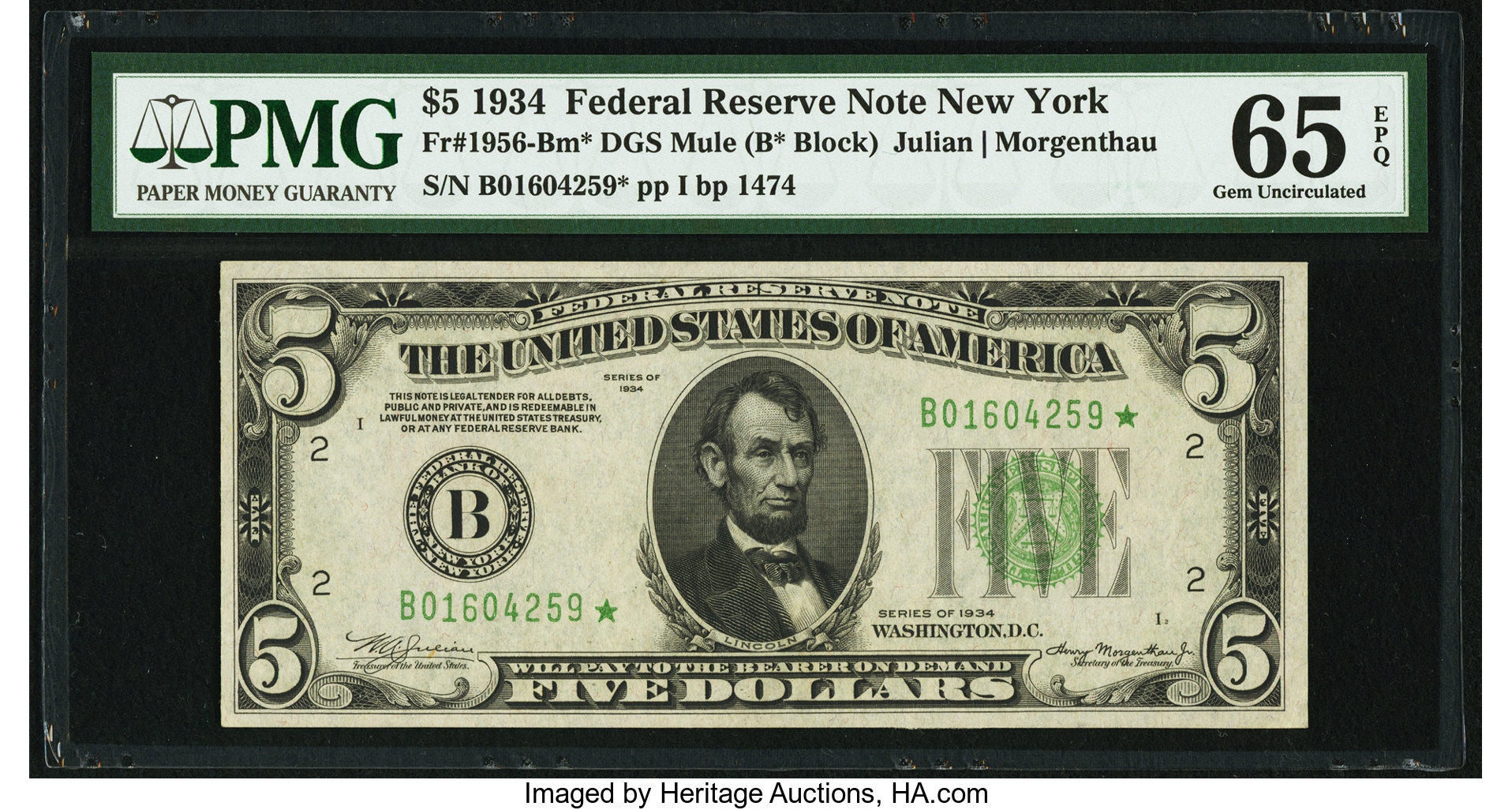 sample image for 1934 Dark Green Seal $5  New York (Fr.# 1956B)