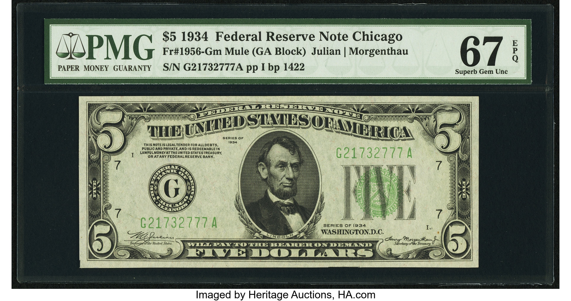 sample image for 1934 Dark Green Seal $5  Chicago (Fr.# 1956G)