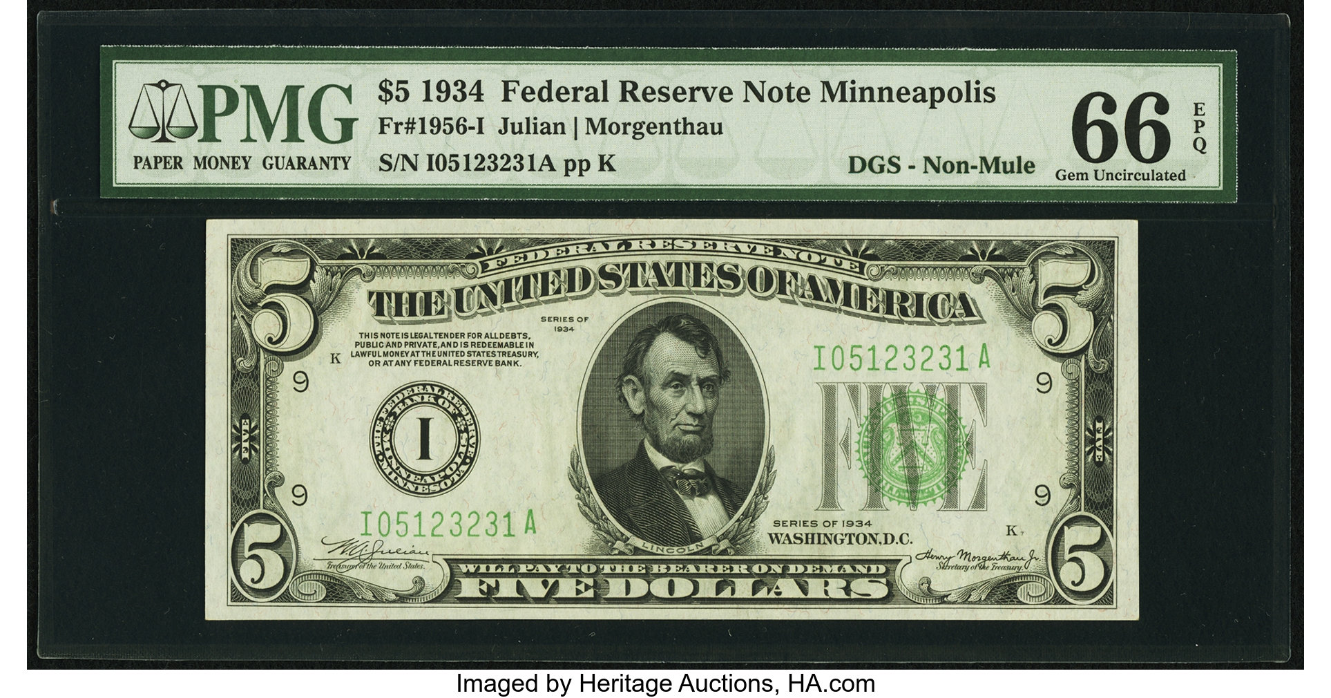 sample image for 1934 Dark Green Seal $5  Minneapolis (Fr.# 1956I)