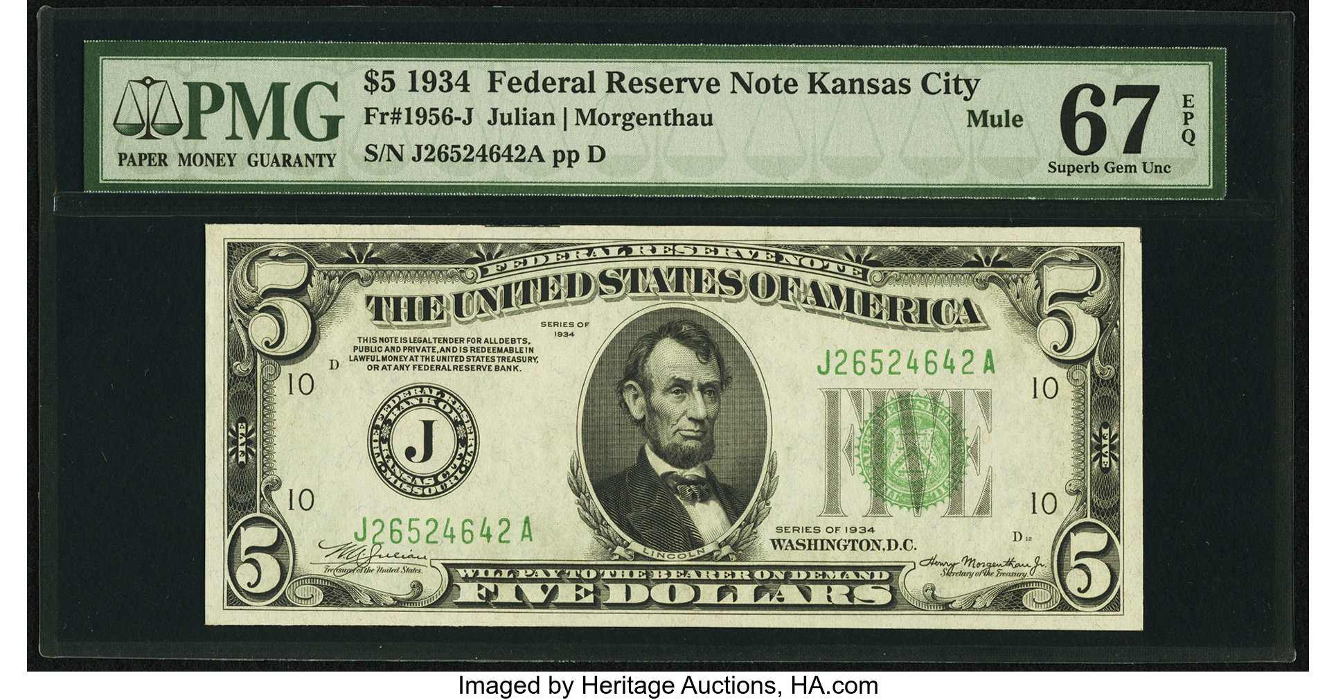 sample image for 1934 Dark Green Seal $5  Kansas City (Fr.# 1956J)