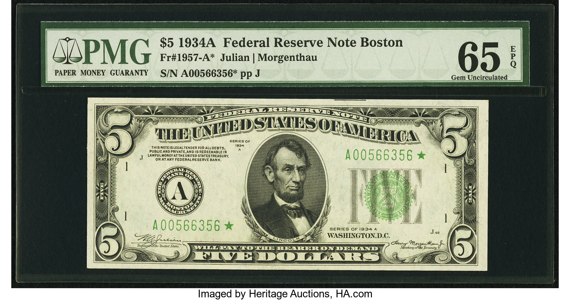 sample image for 1934A $5  Boston (Fr.# 1957A)
