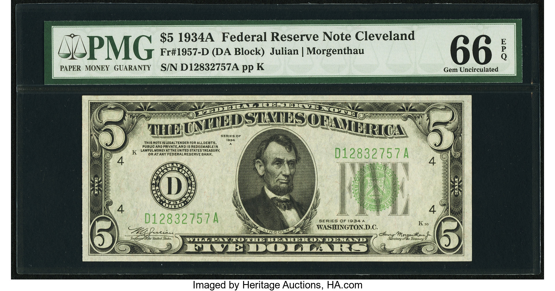 sample image for 1934A $5  Cleveland (Fr.# 1957D)