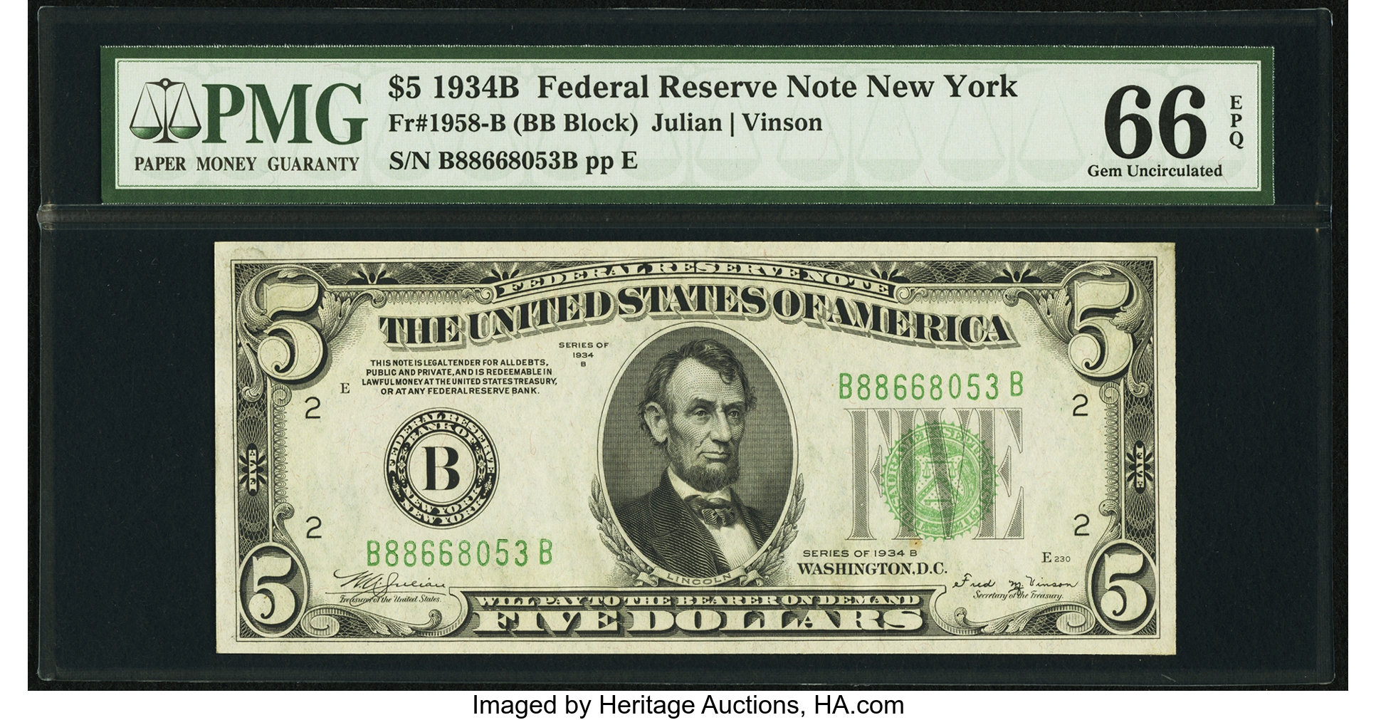 sample image for 1934B Dark Green Seal $5  New York (Fr.# 1958B)