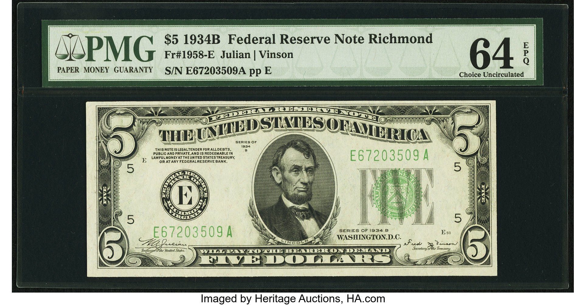 sample image for 1934B Dark Green Seal $5  Richmond (Fr.# 1958E)