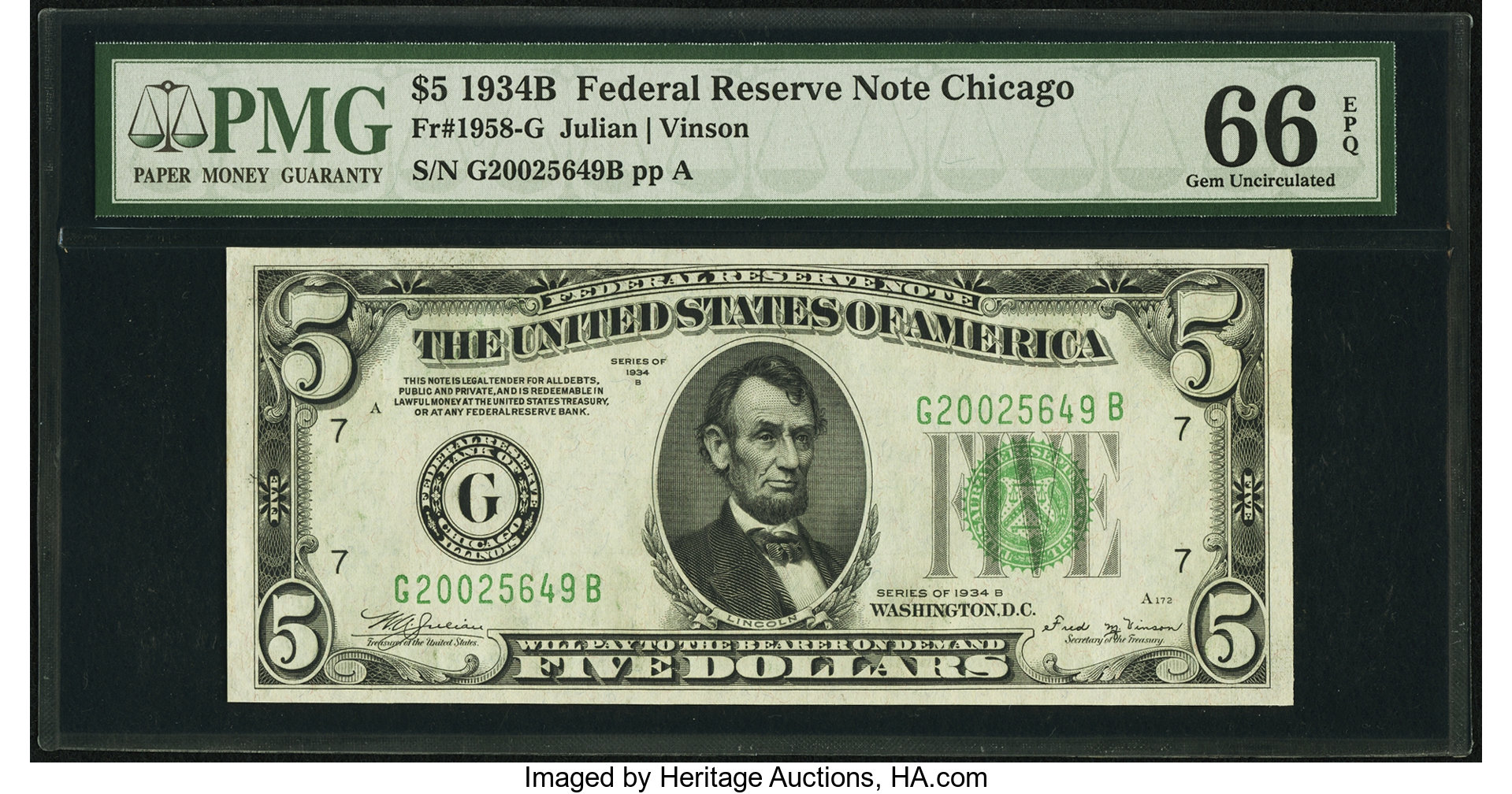 sample image for 1934B Dark Green Seal $5  Chicago (Fr.# 1958G)
