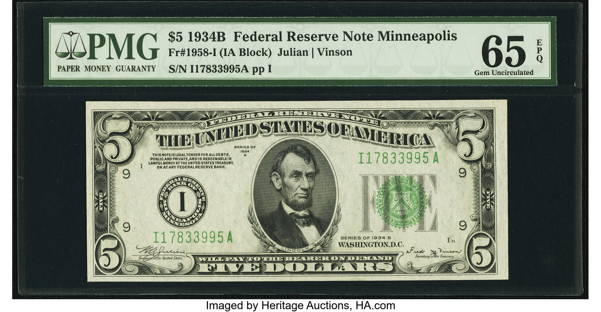 sample image for 1934B Dark Green Seal $5  Minneapolis (Fr.# 1958I)