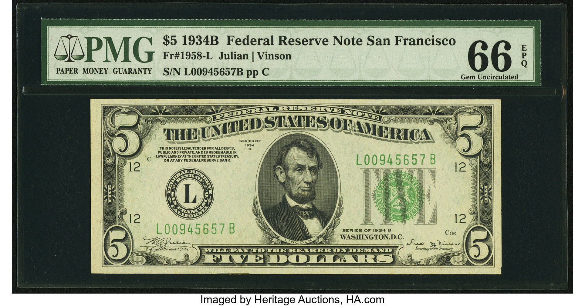 sample image for 1934B Dark Green Seal $5  San Francisco (Fr.# 1958L)