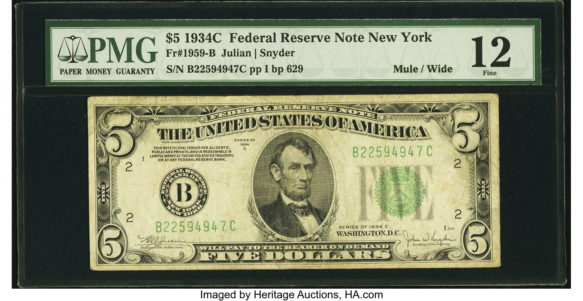 sample image for 1934C Dark Green Seal $5  New York (Fr.# 1959B)