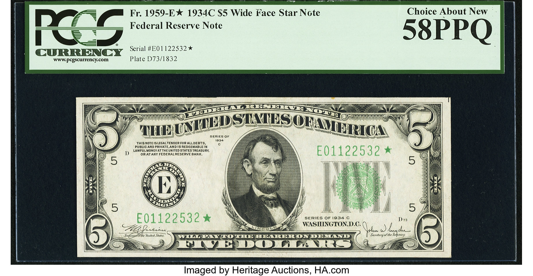 sample image for 1934C Dark Green Seal $5  Richmond (Fr.# 1959E)