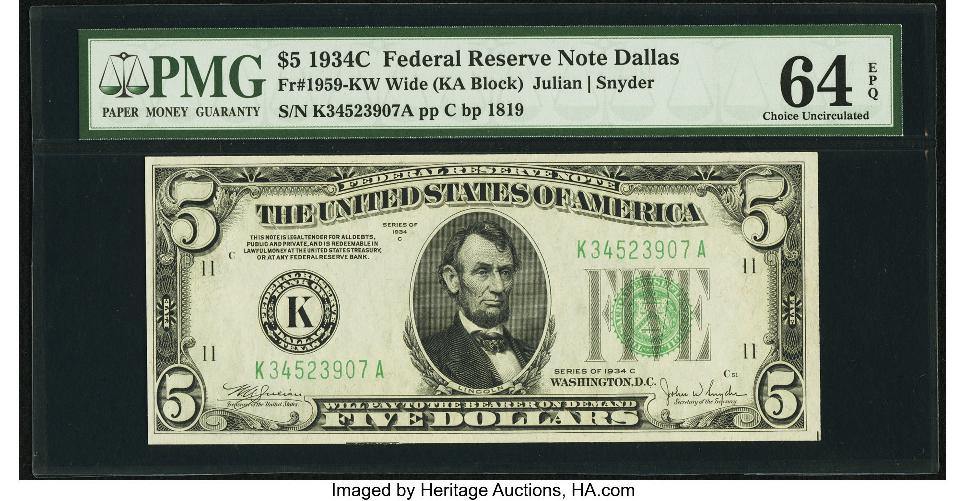 sample image for 1934C Dark Green Seal $5  Dallas (Fr.# 1959K)