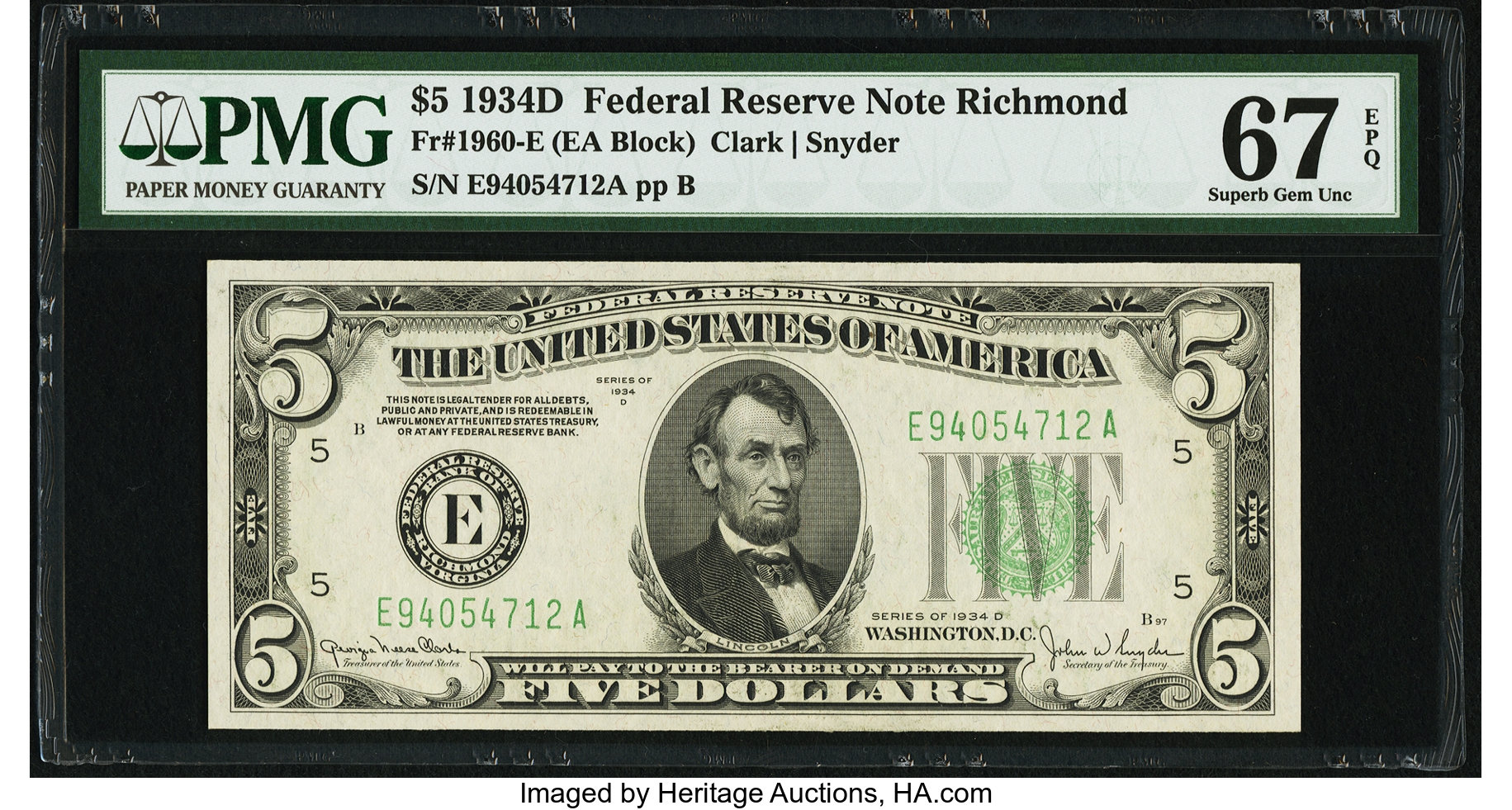 sample image for 1934D Dark Green Seal $5  Richmond (Fr.# 1960E)