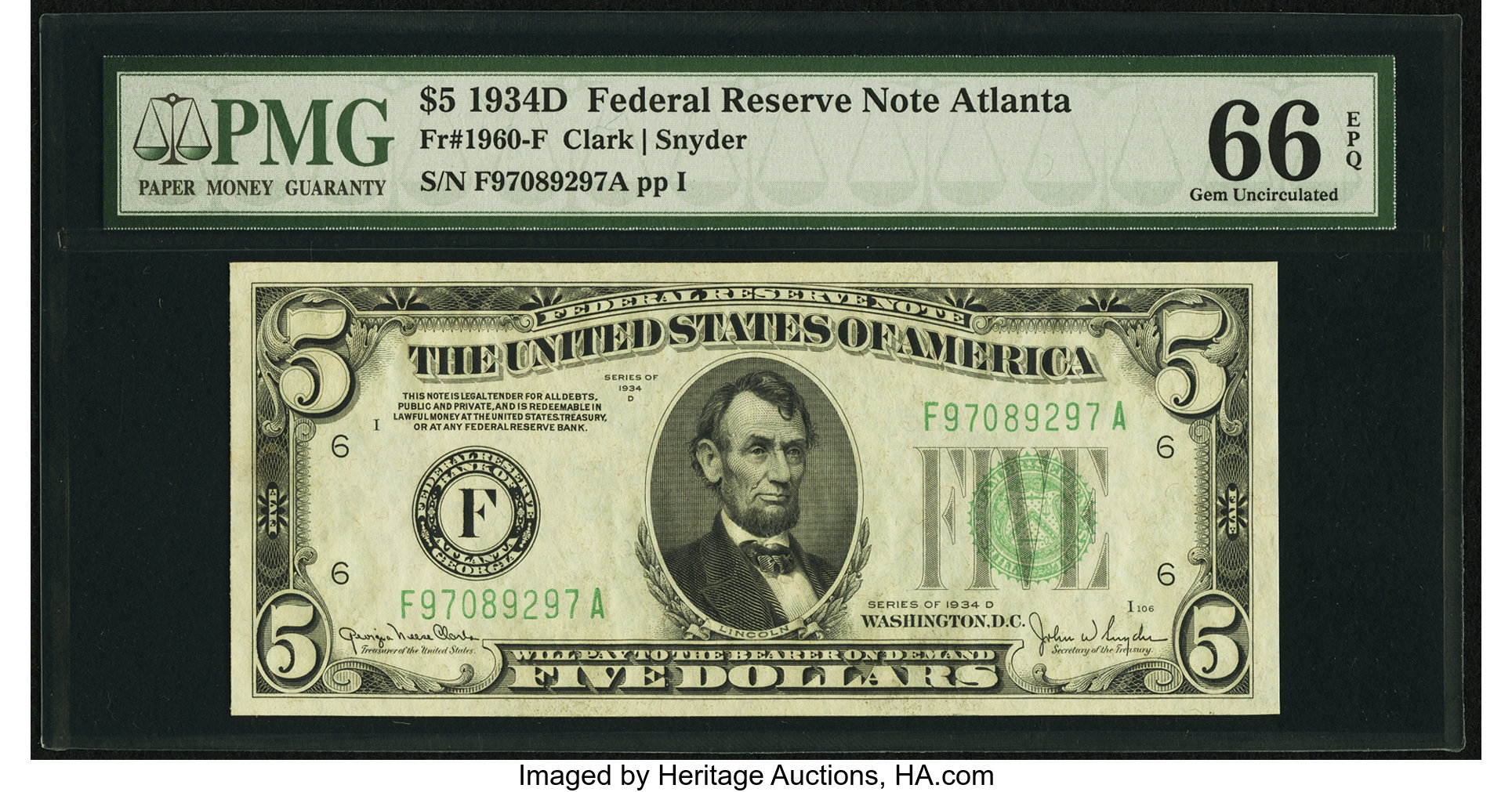 sample image for 1934D Dark Green Seal $5  Atlanta (Fr.# 1960F)