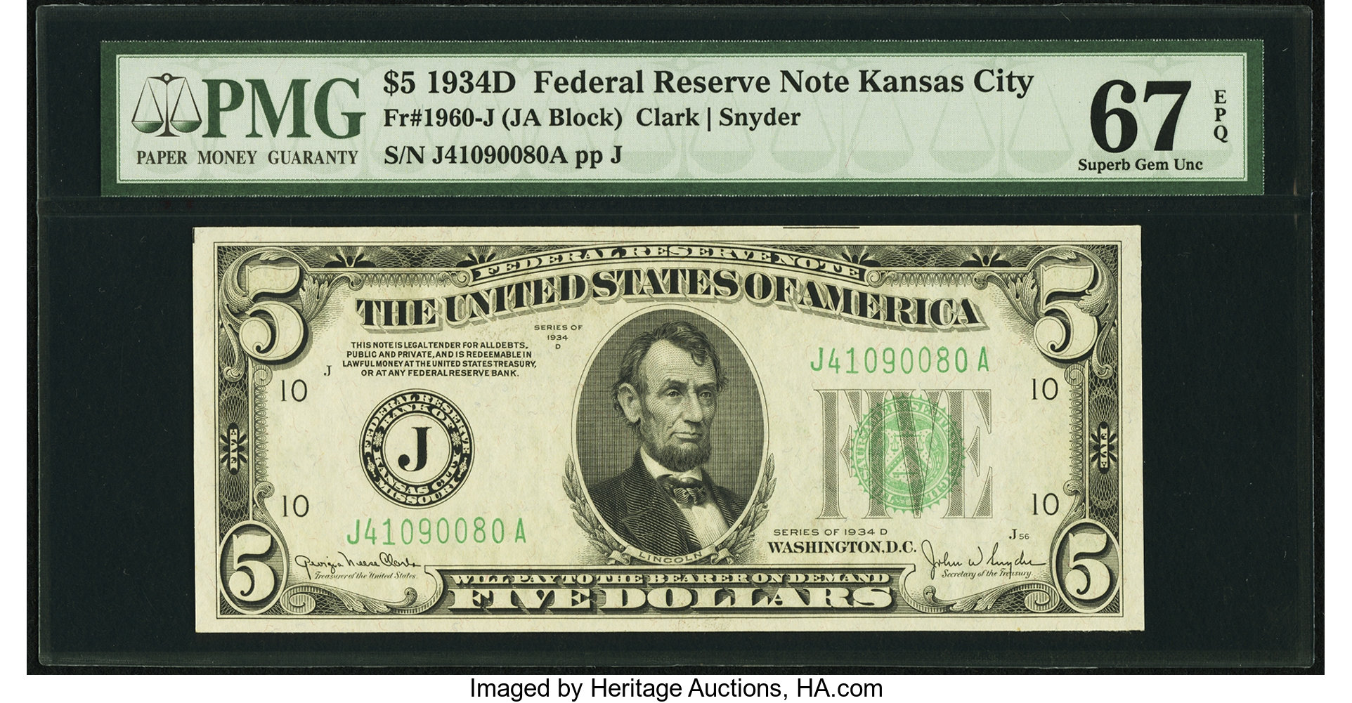 sample image for 1934D Dark Green Seal $5  Kansas City (Fr.# 1960J)