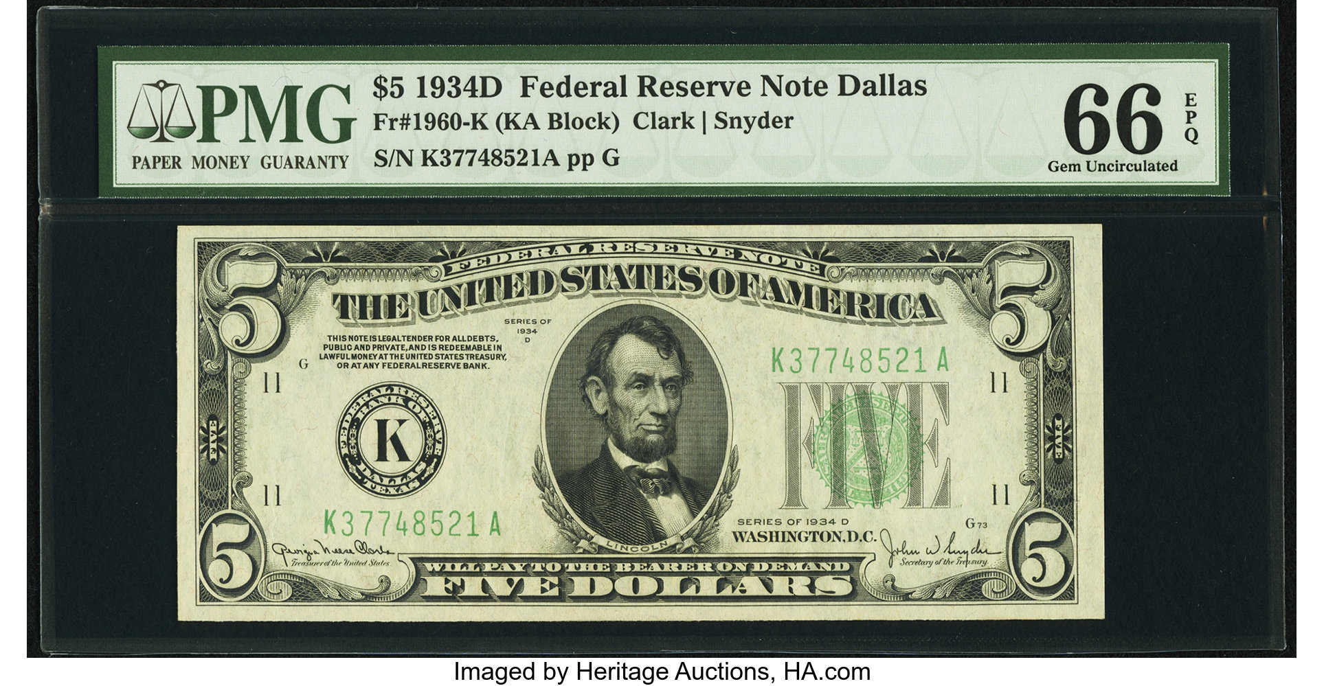 sample image for 1934D Dark Green Seal $5  Dallas (Fr.# 1960K)