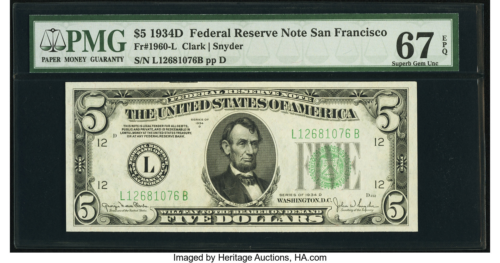 sample image for 1934D Dark Green Seal $5  San Francisco (Fr.# 1960L)