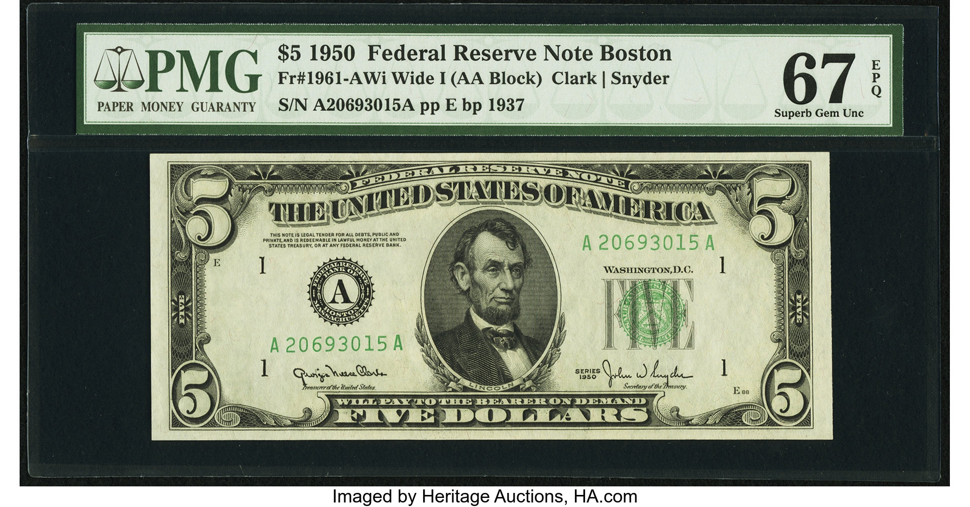 sample image for 1950 Dark Green Seal $5  (Fr.# 1961A)