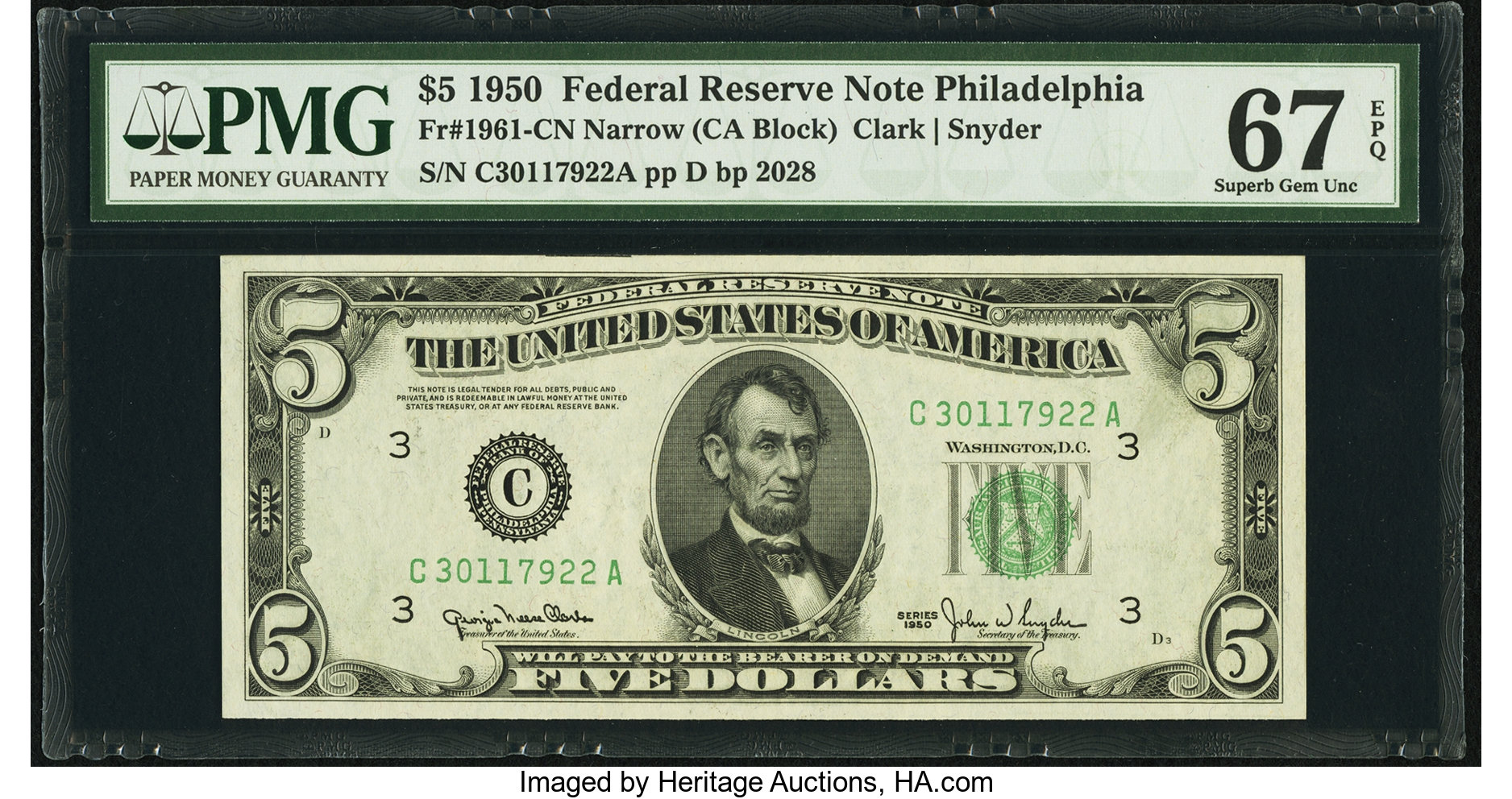 sample image for 1950 Dark Green Seal $5  (Fr.# 1961C)