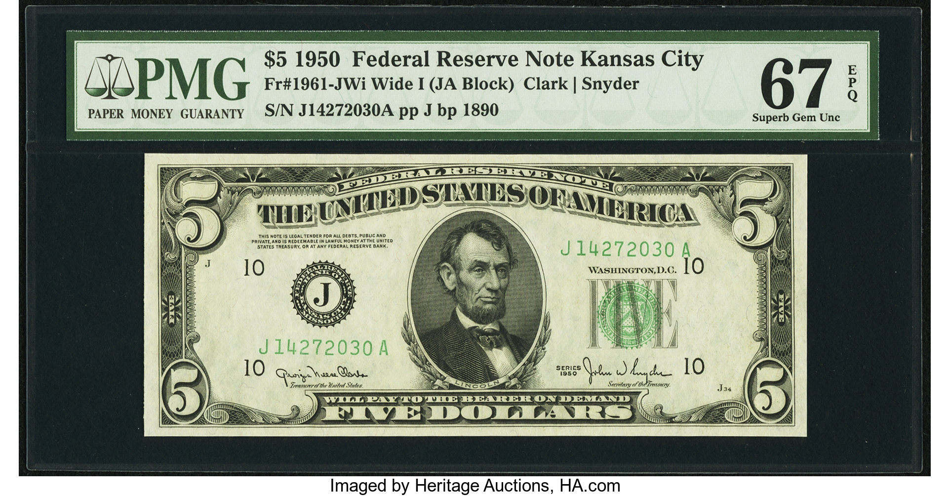 sample image for 1950 Dark Green Seal $5  (Fr.# 1961J)