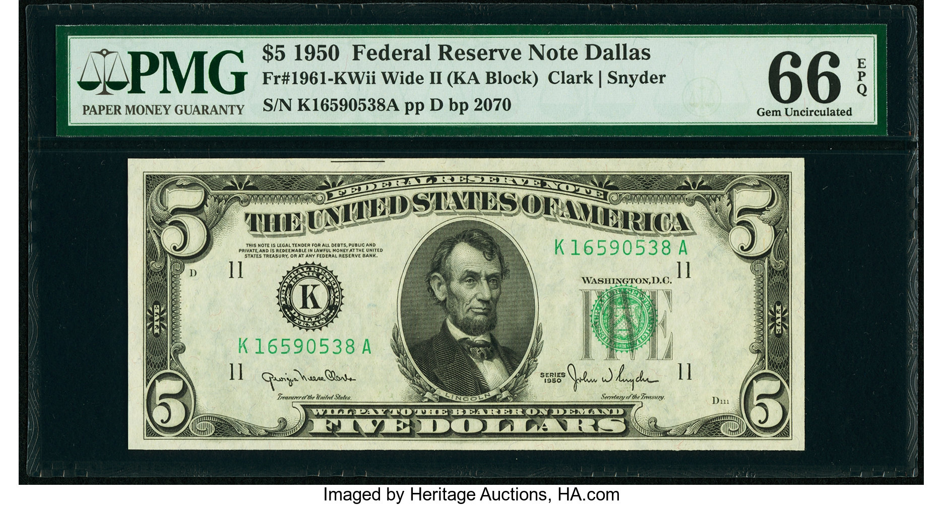 sample image for 1950 Dark Green Seal $5  (Fr.# 1961K)