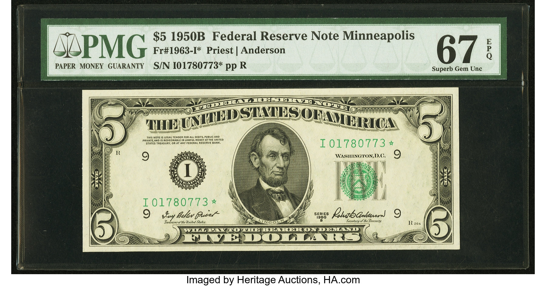 sample image for 1950B Dark Green Seal $5  (Fr.# 1963I)