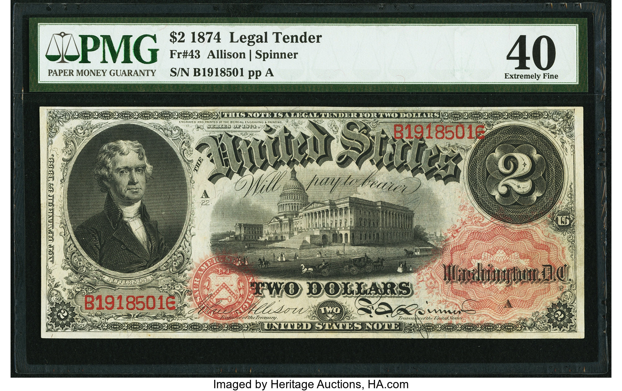sample image for 1874 $2  (Fr.# 43)