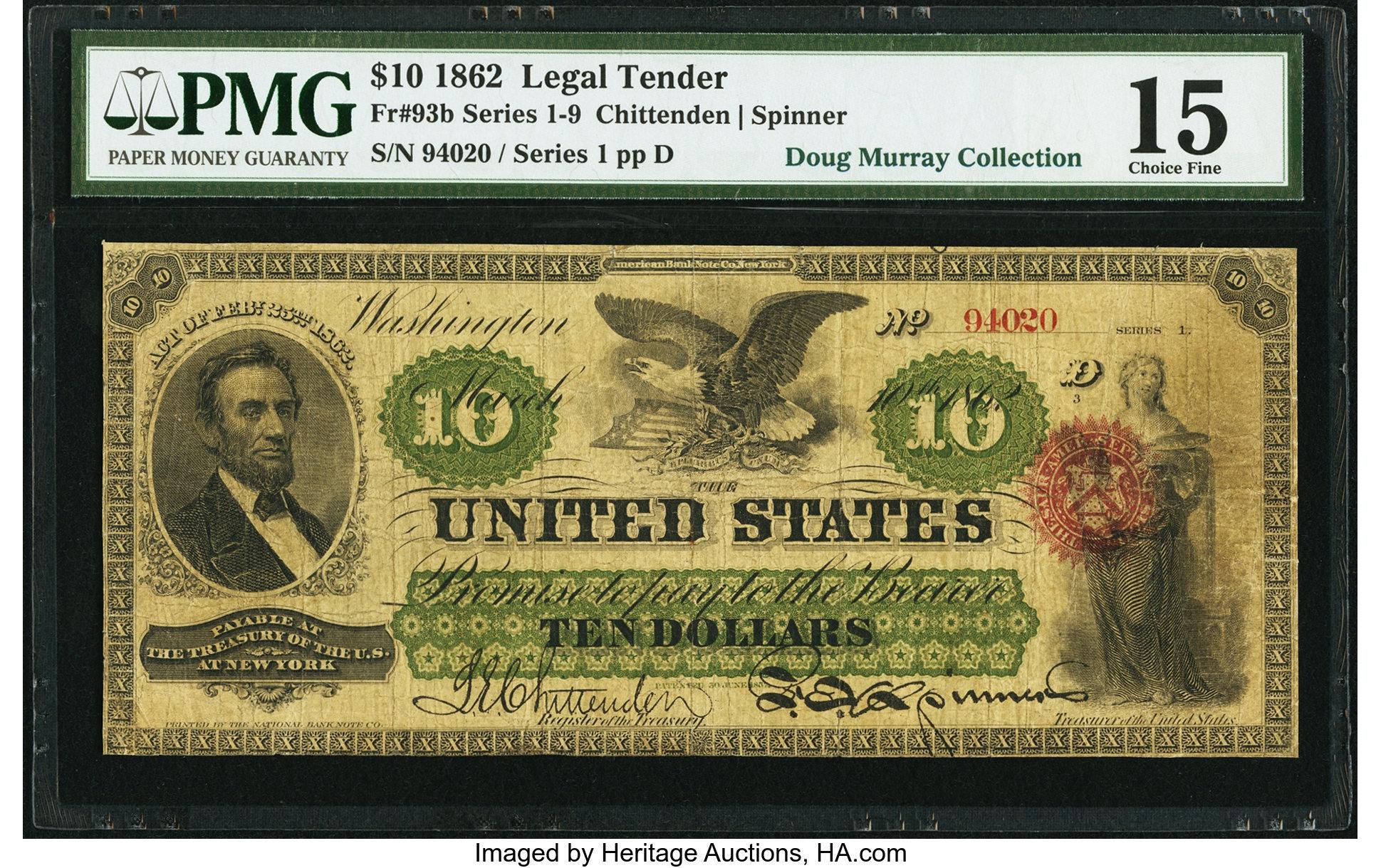 sample image for 1862 $10  Seal Type 1 (Fr.# 93b)