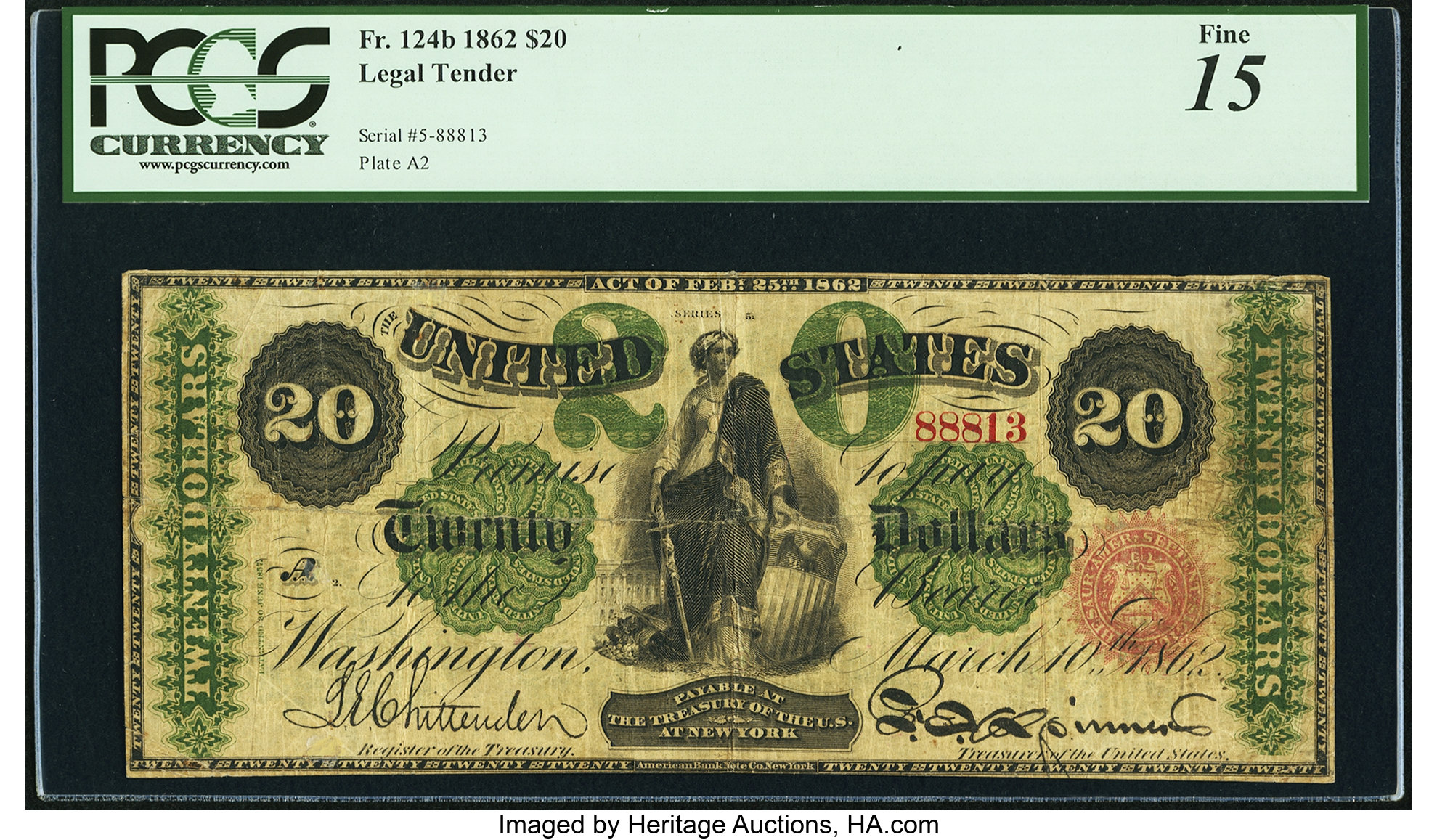 sample image for 1862 $20  Seal Type 1 (Fr.# 124b)