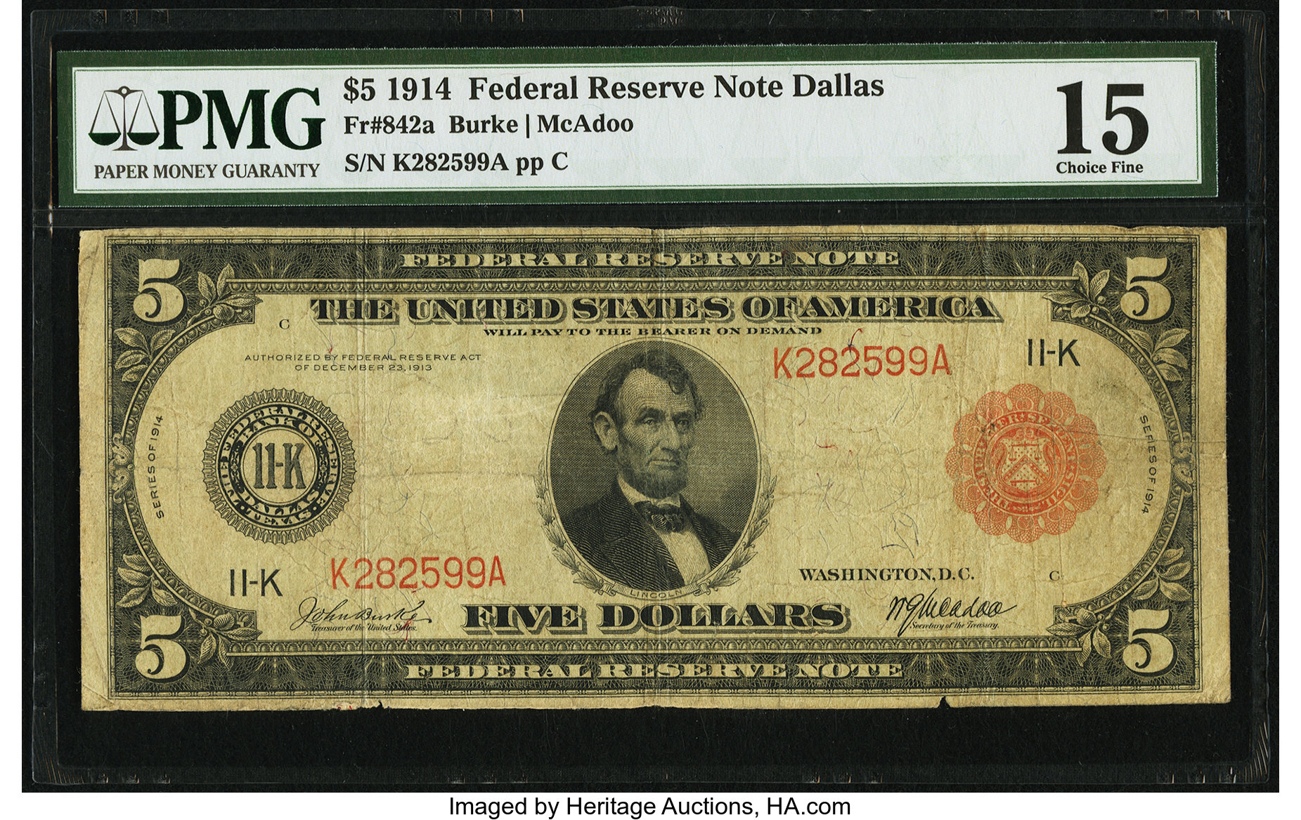 sample image for Fr.842A $5 Dallas RS