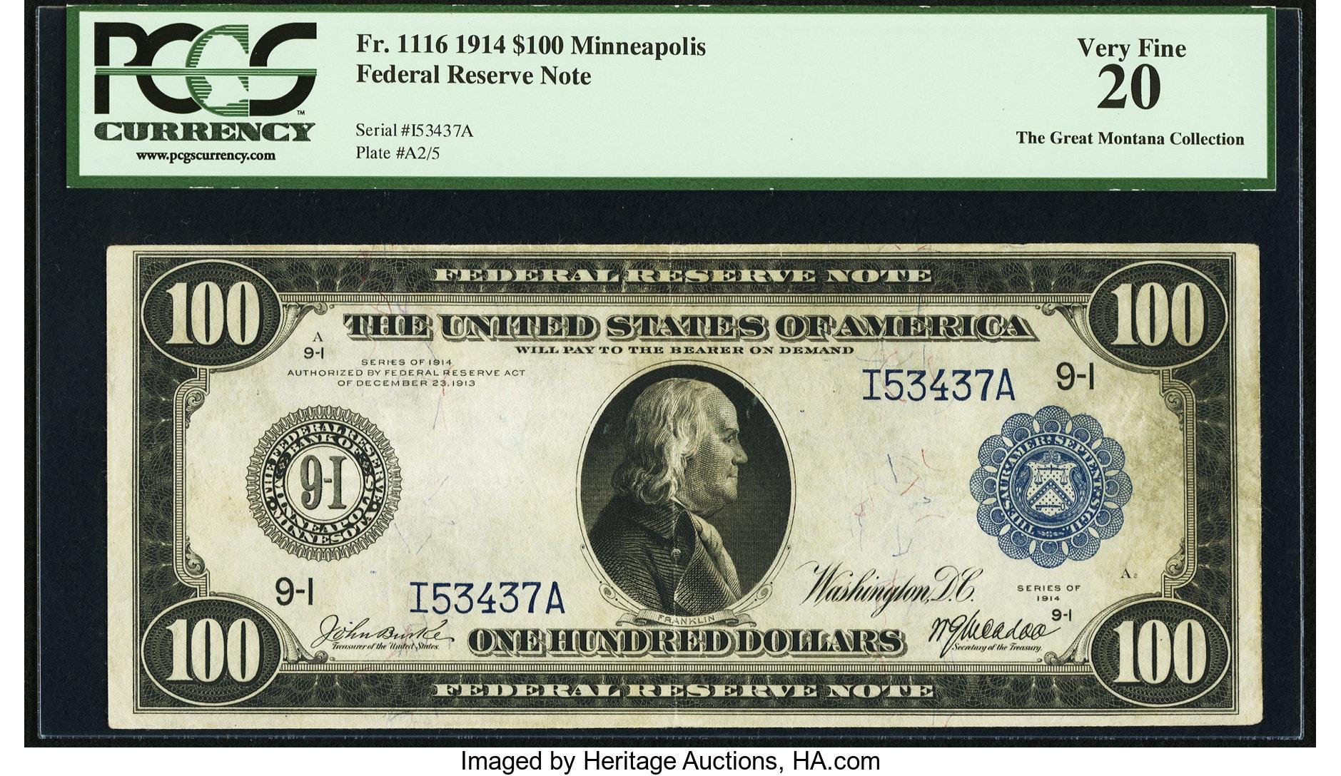 sample image for Fr.1116 $100 Minneapolis