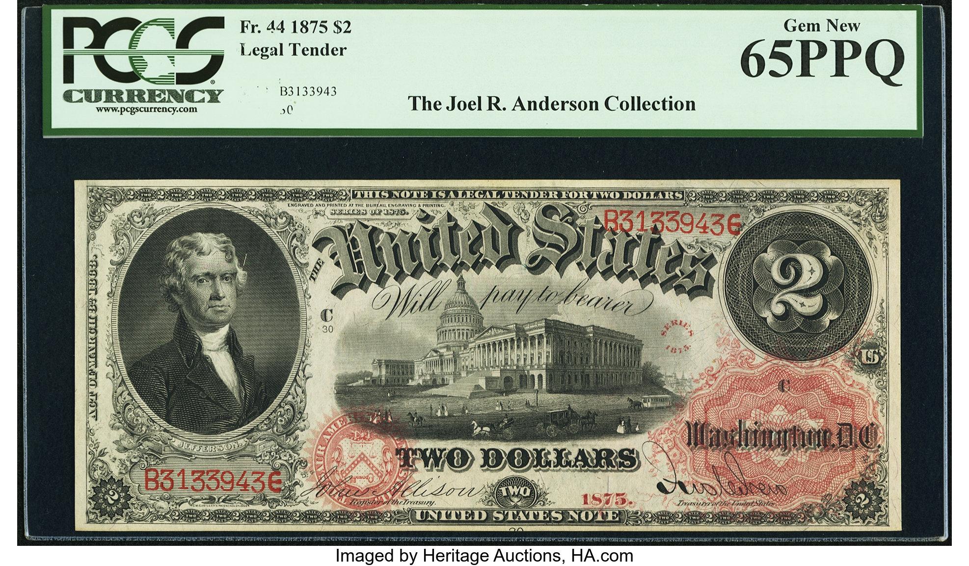 sample image for 1874 $2  (Fr.# 44)