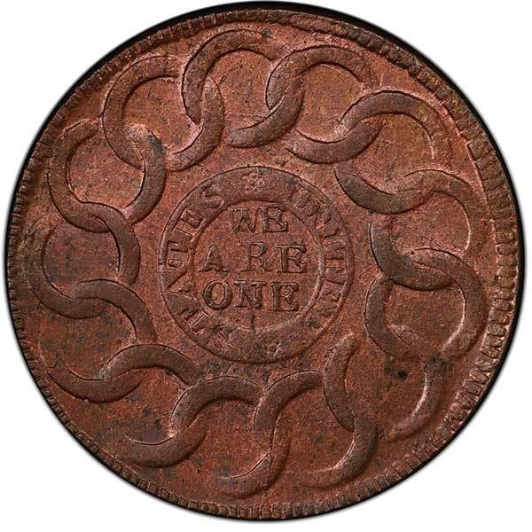sample image for 1787 Fugio Cinq, STATES UNITED RB