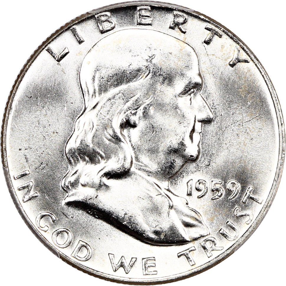 100/% White 1963-D PCGS MS64 FBL Franklin Half Dollar